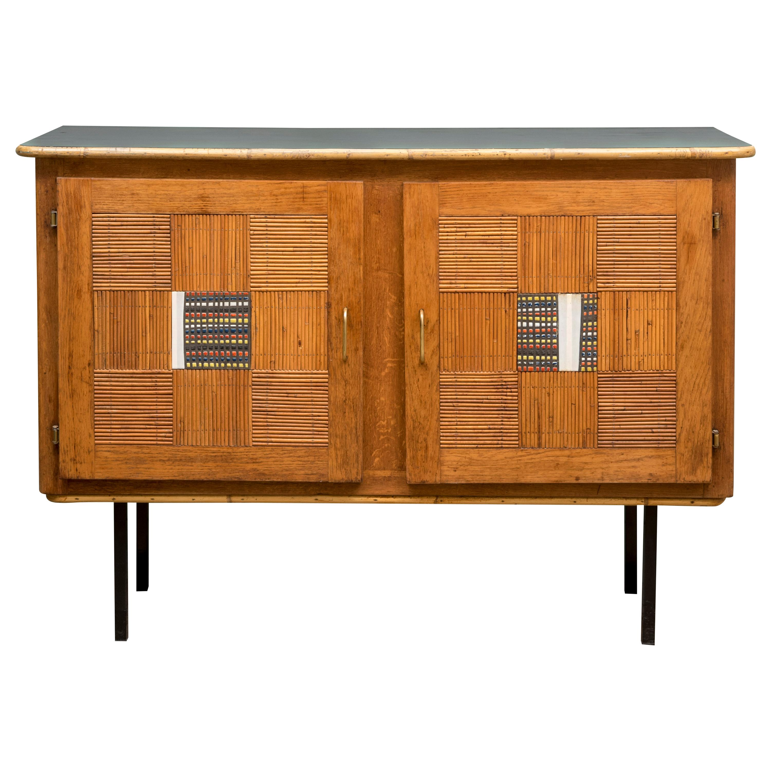Oak and Rattan Sideboard by Audoux and Minet