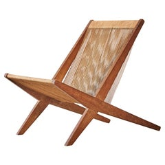 Oak and Rope Chair Attributed to Poul Kjaerholm & Jørgen Høj, Denmark, 1950s