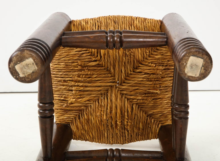 Oak and Rush Stool by Charles Dudouyt, France, circa 1930s 3