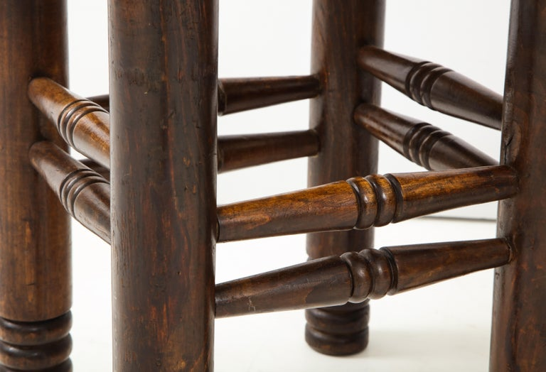 Oak and Rush Stool by Charles Dudouyt, France, circa 1930s 5