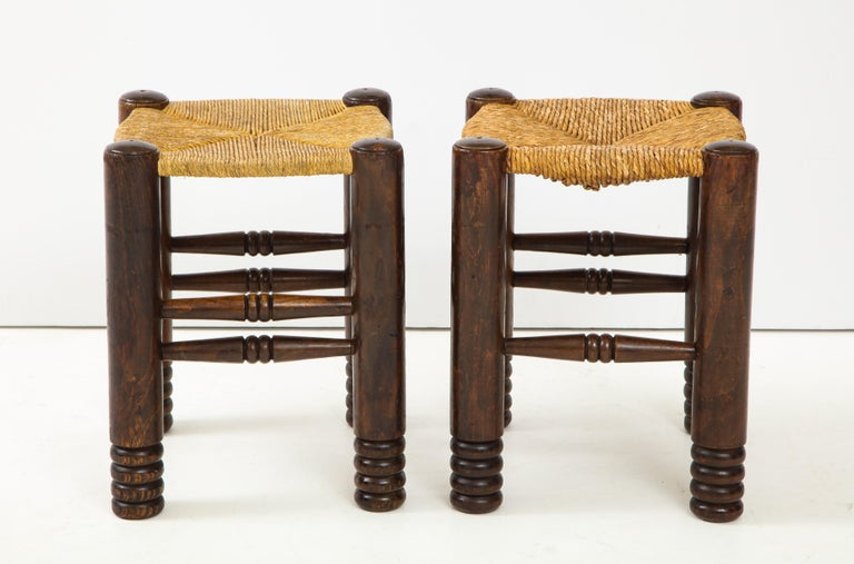 Arts and Crafts Oak and Rush Stool by Charles Dudouyt, France, circa 1930s