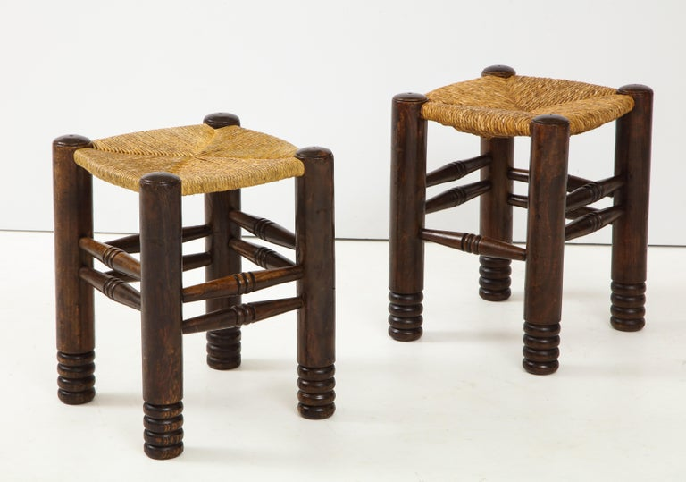French Oak and Rush Stool by Charles Dudouyt, France, circa 1930s