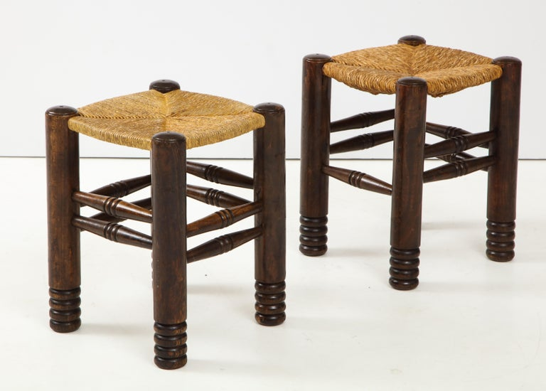 Hand-Woven Oak and Rush Stool by Charles Dudouyt, France, circa 1930s