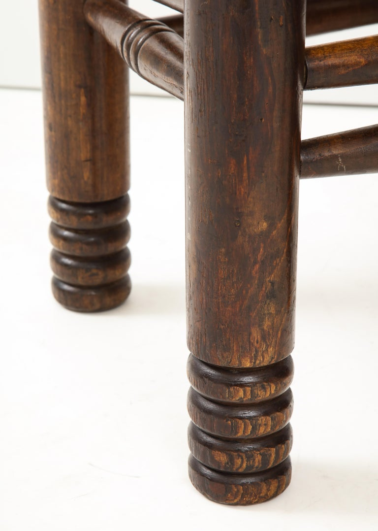 Oak and Rush Stool by Charles Dudouyt, France, circa 1930s 1