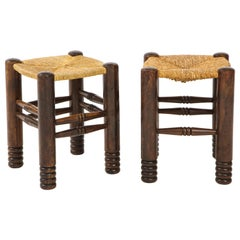 Oak and Rush Stool by Charles Dudouyt, France, circa 1930s
