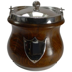 Oak and Silver Plate Biscuit Box / Barrel by John Grinsell & Co., c.1890