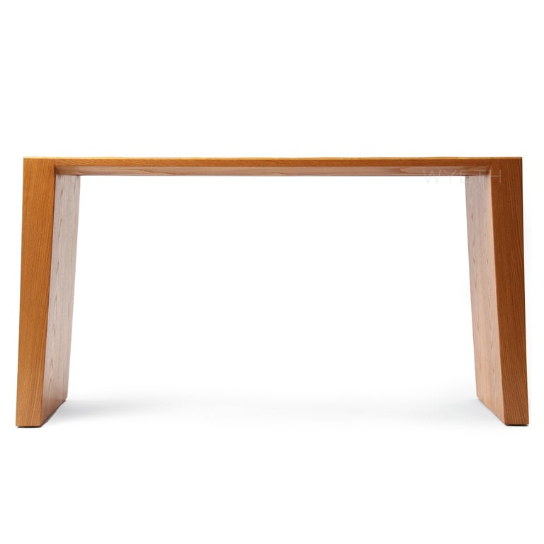 American Wyeth Original Oak and Split Bamboo Console Table For Sale