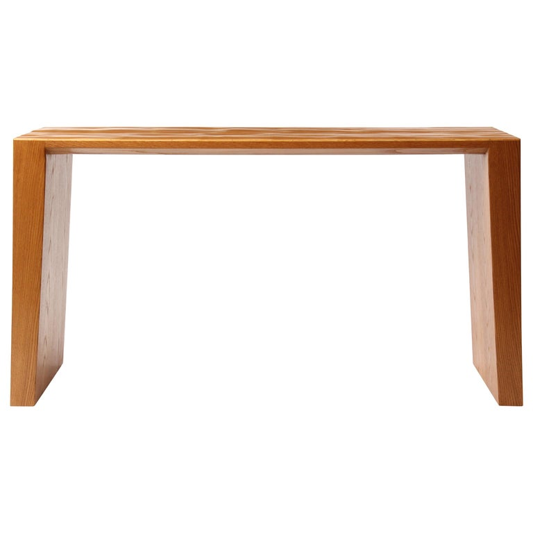 Oak and Split Bamboo Console Table For Sale
