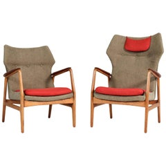 Oak and Teak Lounge Chairs by Aksel Bender Madsen for Bovenkamp, 1960s