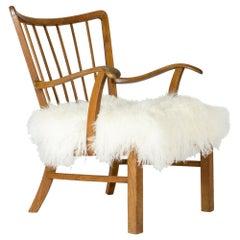 Oak and Tibetan Sheepskind Lounge Chair from Ludvig Pontoppidan