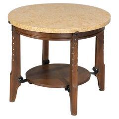 Oak and Travertine Art Deco Coffee Table 1930's Gueridon, E556