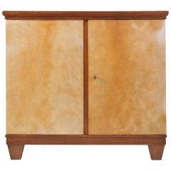 Oak and Velum Two-Door Cabinet, in the Manner of Jean Michel Frank