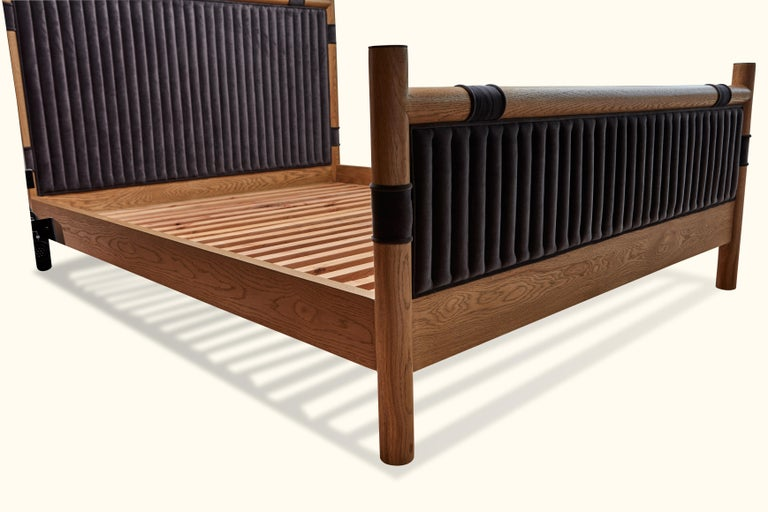Mid-Century Modern Oak and Velvet Channel Tufted Chiselhurst Bed by Lawson-Fenning, Queen For Sale