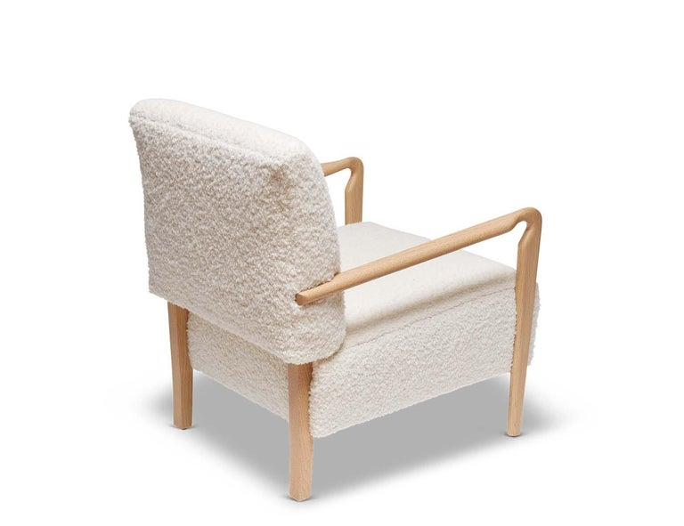 American Oak and White Alpaca Bouclé Niguel Lounge Chair by Lawson-Fenning For Sale