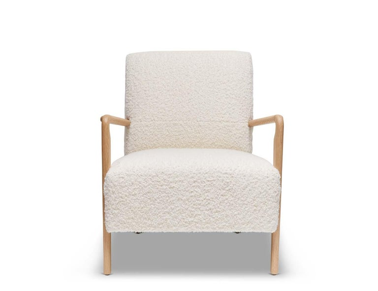 Contemporary Oak and White Alpaca Bouclé Niguel Lounge Chair by Lawson-Fenning For Sale