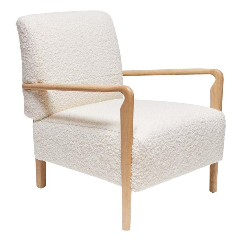 Oak and White Alpaca Bouclé Niguel Lounge Chair by Lawson-Fenning For Sale