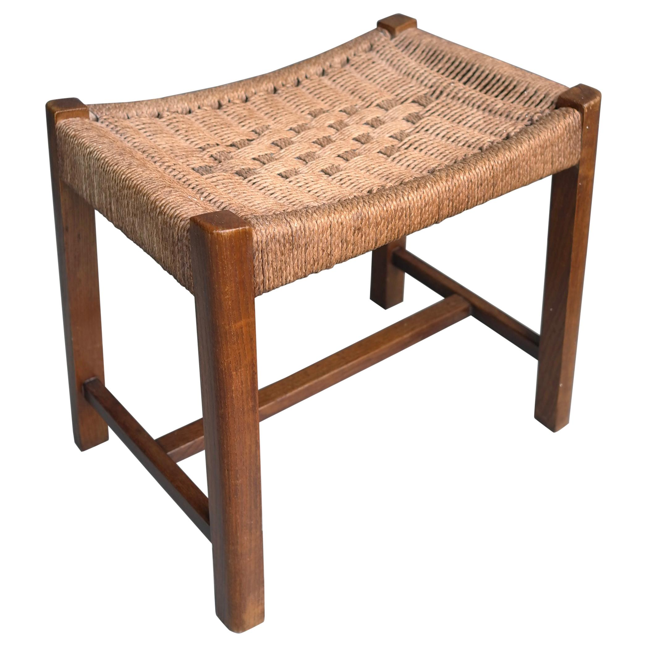 Oak and Woven Rope Stool by Audoux Minet France 1950s