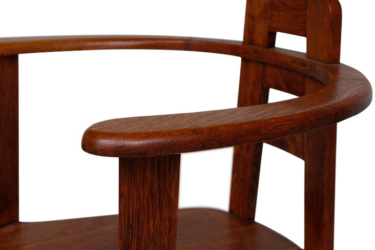 Aesthetic Movement Oak Armchair in the Style of Mackintosh For Sale