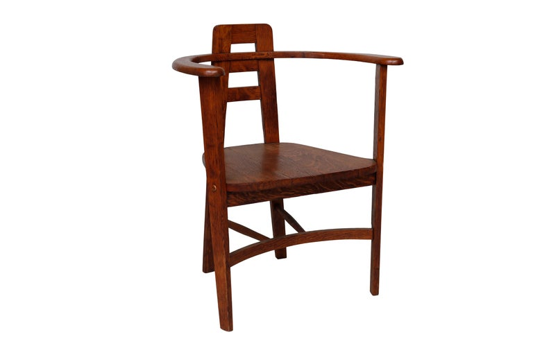 American Oak Armchair in the Style of Mackintosh For Sale