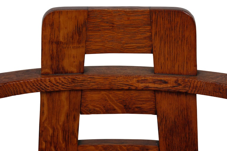 Hand-Crafted Oak Armchair in the Style of Mackintosh For Sale