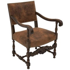 Oak Armchair from circa 1920, New Upholstery
