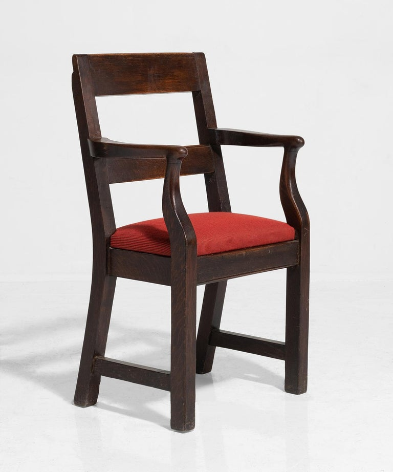 English Oak Armchairs by William Birch, England, circa 1890 For Sale