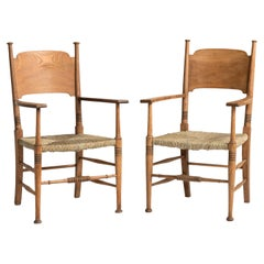 Oak Armchairs by William Birch, England, circa 1890