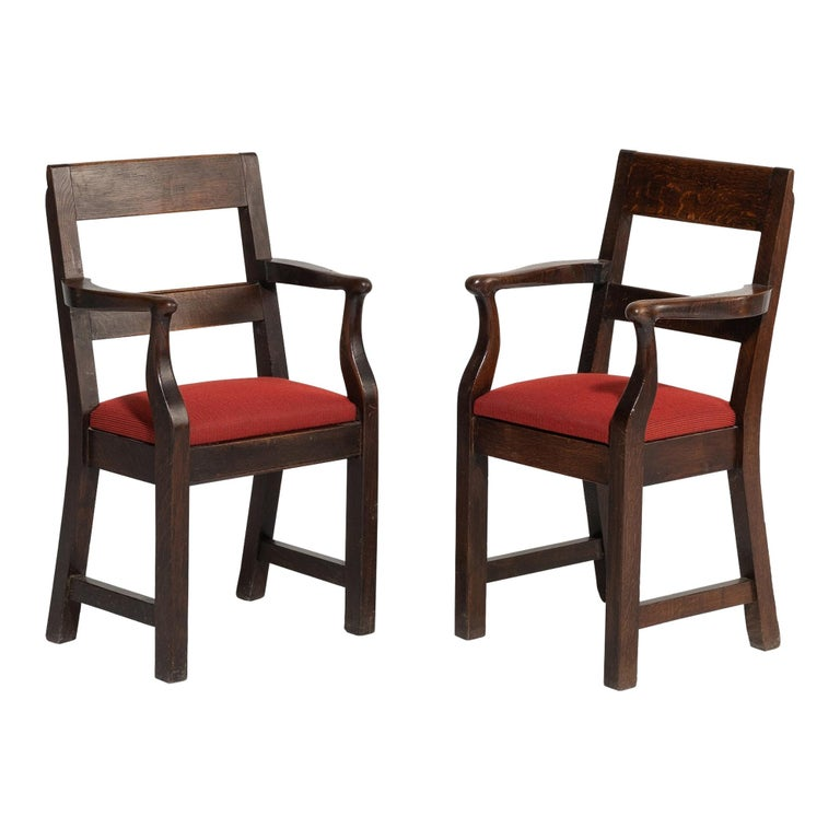 Oak Armchairs by William Birch, England, circa 1890 For Sale