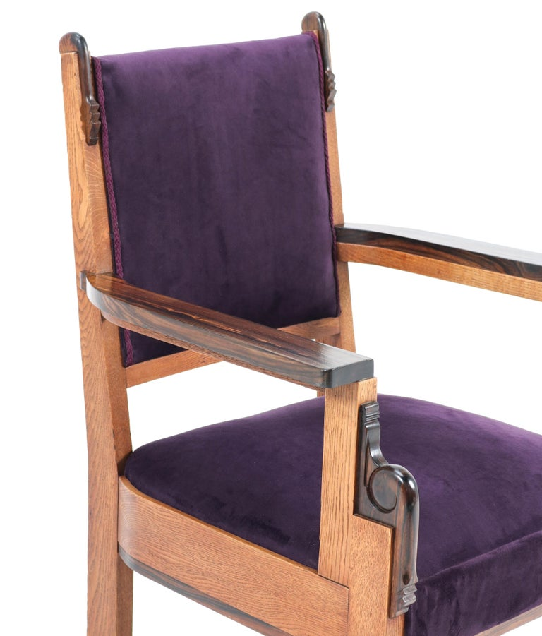 Oak Art Deco Amsterdam School Armchair by H.W. Tolenaar Rotterdam, 1920s For Sale 7