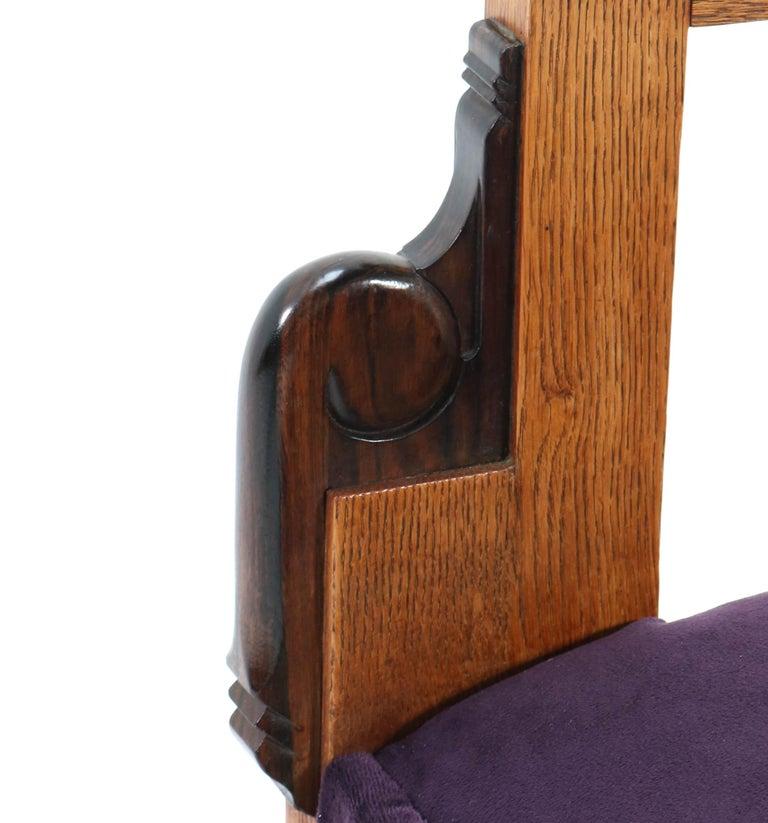 Oak Art Deco Amsterdam School Armchair by H.W. Tolenaar Rotterdam, 1920s For Sale 10