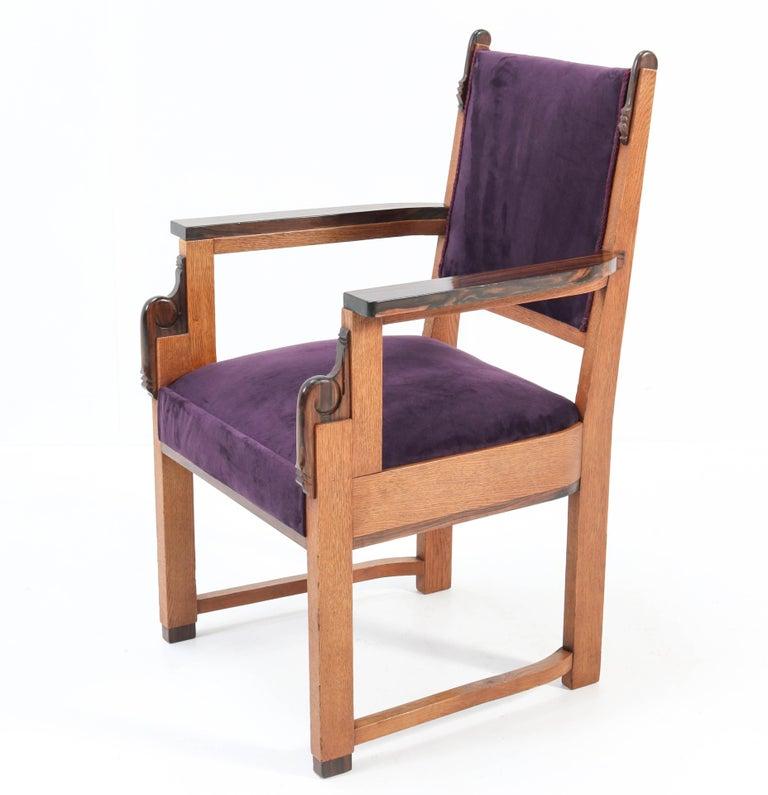Oak Art Deco Amsterdam School Armchair by H.W. Tolenaar Rotterdam, 1920s For Sale 2