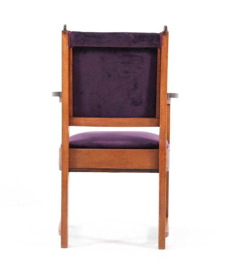Oak Art Deco Amsterdam School Armchair by H.W. Tolenaar Rotterdam, 1920s For Sale 4