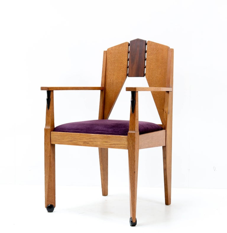 Dutch Oak Art Deco Amsterdam School Armchair by J.J. Zijfers Amsterdam, 1920s For Sale