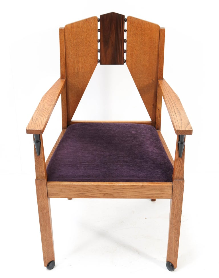 Early 20th Century Oak Art Deco Amsterdam School Armchair by J.J. Zijfers Amsterdam, 1920s For Sale