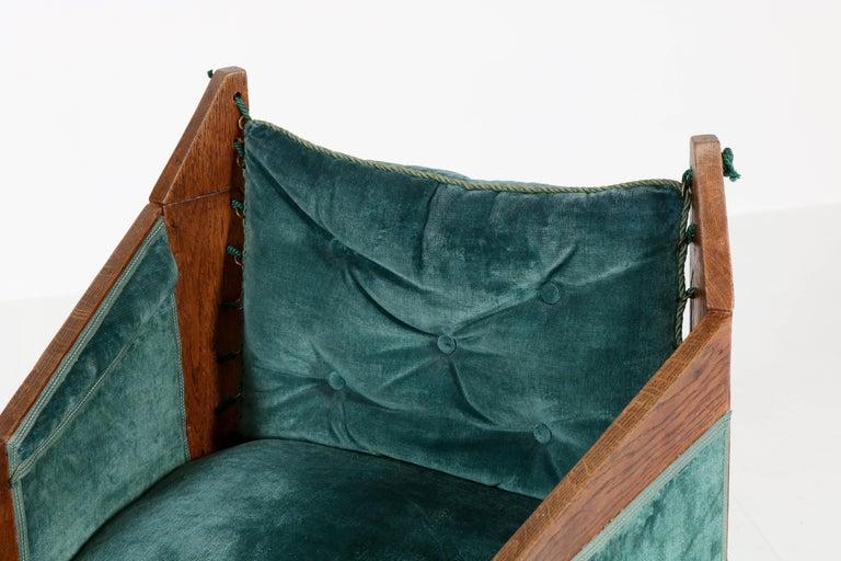 Dutch Oak Art Deco Amsterdam School Armchairs by H. van Dorp, 1920s For Sale