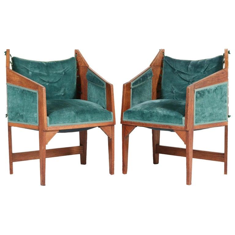 Oak Art Deco Amsterdam School Armchairs by H. van Dorp, 1920s For Sale