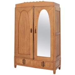 Oak Art Deco Amsterdam School Armoire or Wardrobe by J.J. Zijfers Amsterdam