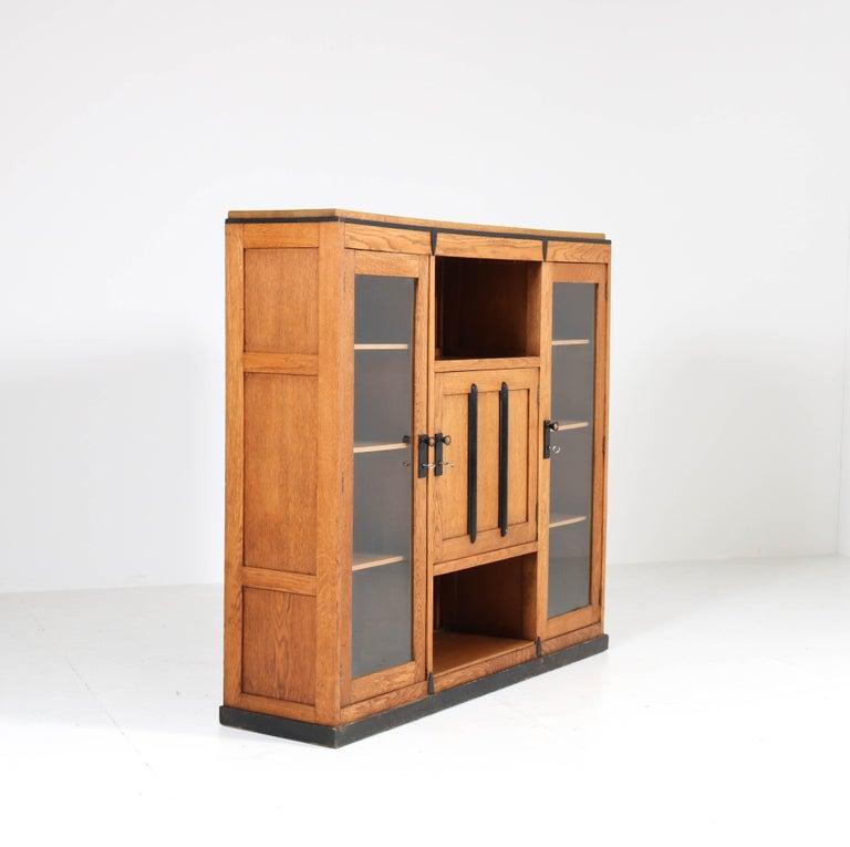 Dutch Oak Art Deco Amsterdam School Bookcase, 1920s For Sale