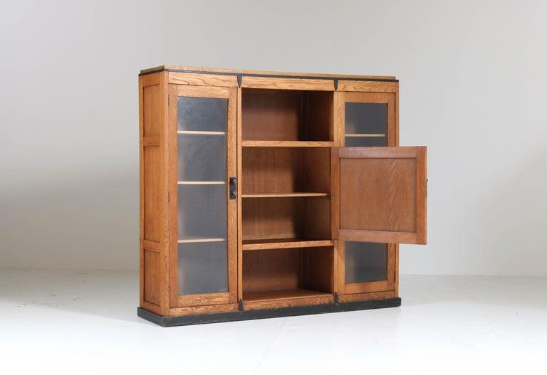 Oak Art Deco Amsterdam School Bookcase, 1920s For Sale 3