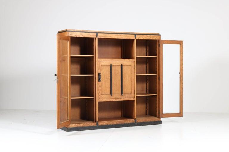 Oak Art Deco Amsterdam School Bookcase, 1920s For Sale 4