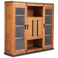 Oak Art Deco Amsterdam School Bookcase, 1920s