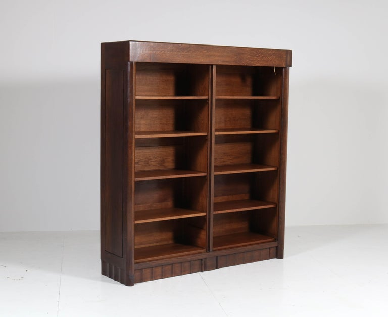 Dutch Oak Art Deco Amsterdam School Bookcase by Hildo Krop for Gebr. Monsieur, 1920s For Sale
