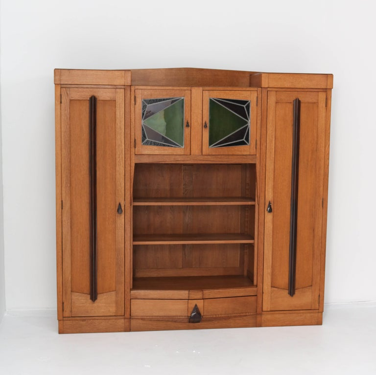 Magnificent and rare Art Deco Amsterdam School bookcase.