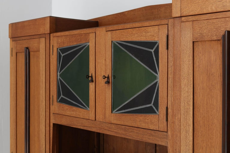 Oak Art Deco Amsterdam School Bookcase with Stained Glass, 1920s For Sale 4