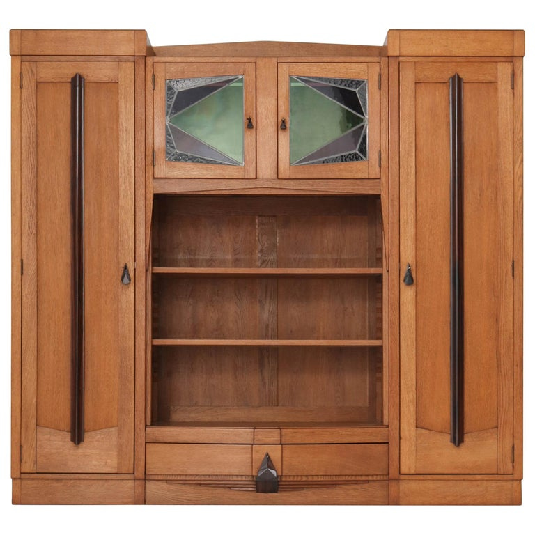 Oak Art Deco Amsterdam School Bookcase with Stained Glass, 1920s For Sale