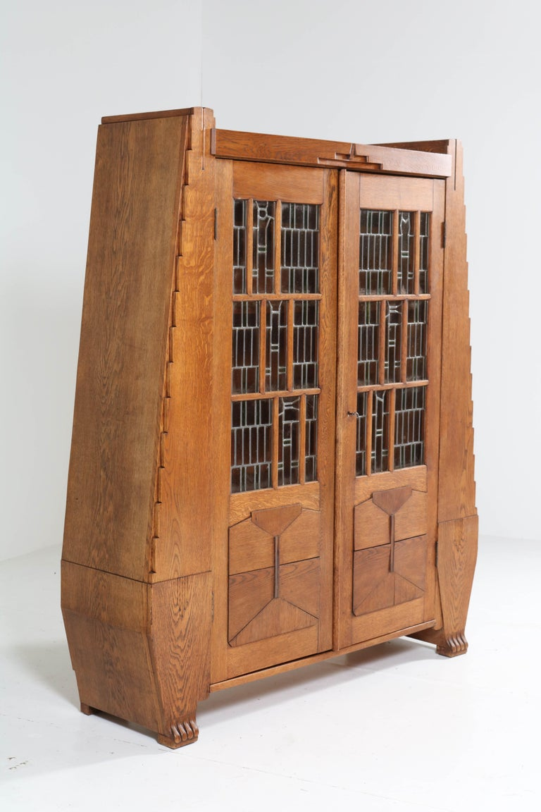 Oak Art Deco Amsterdam School Bookcase with Stained Glass by Hildo Krop, 1918 For Sale 12