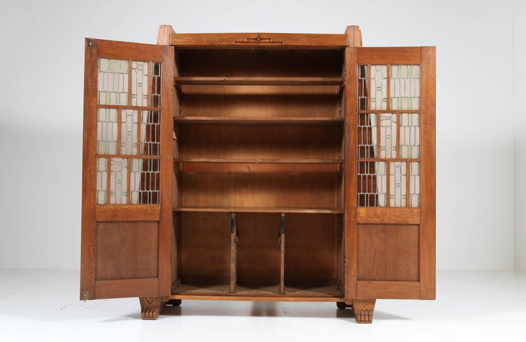 Oak Art Deco Amsterdam School Bookcase with Stained Glass by Hildo Krop, 1918 For Sale 13