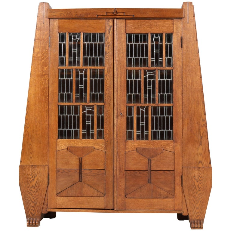 Oak Art Deco Amsterdam School Bookcase with Stained Glass by Hildo Krop, 1918 For Sale