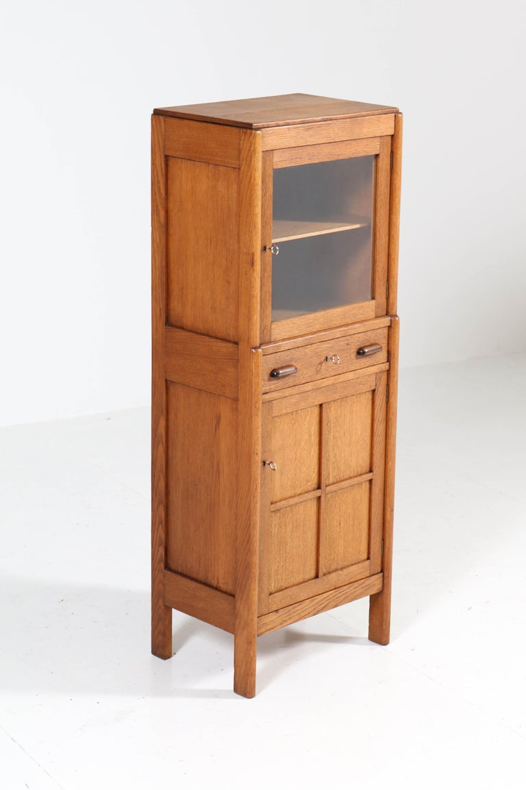 Dutch Oak Art Deco Amsterdam School Cabinet, 1920s For Sale