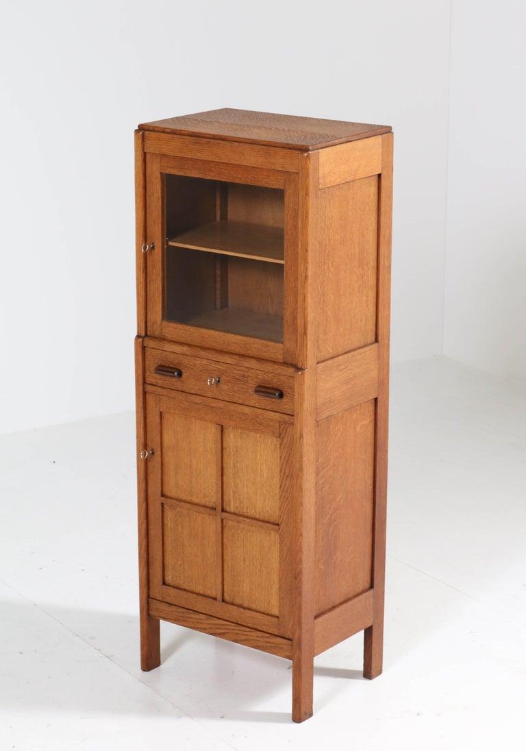 Oak Art Deco Amsterdam School Cabinet, 1920s For Sale 1
